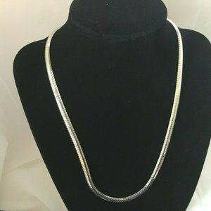 "ITALY 925 Silver Cobra 18"" Snake Link Necklace"